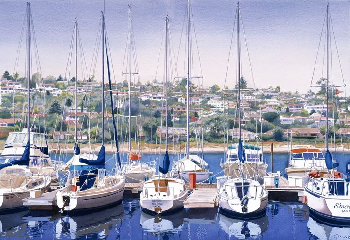 SW Yacht Club in San Diego - Mary Helmreich California Watercolors
