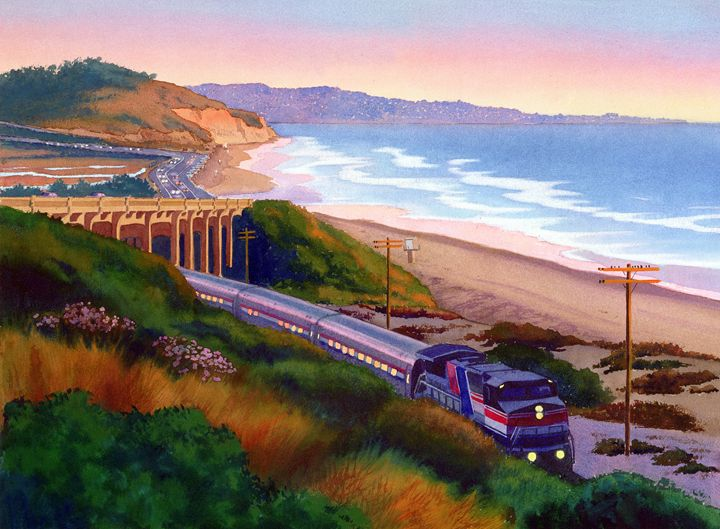 Torrey Pines Commute - Mary Helmreich California Watercolors