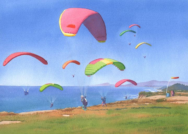 Torrey Pines Gliderport - Mary Helmreich California Watercolors