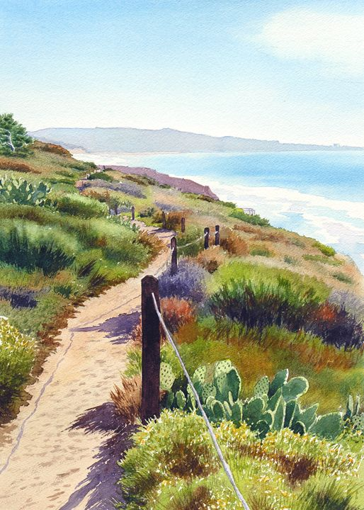 Torrey Pines Guy Fleming Trail - Mary Helmreich California Watercolors