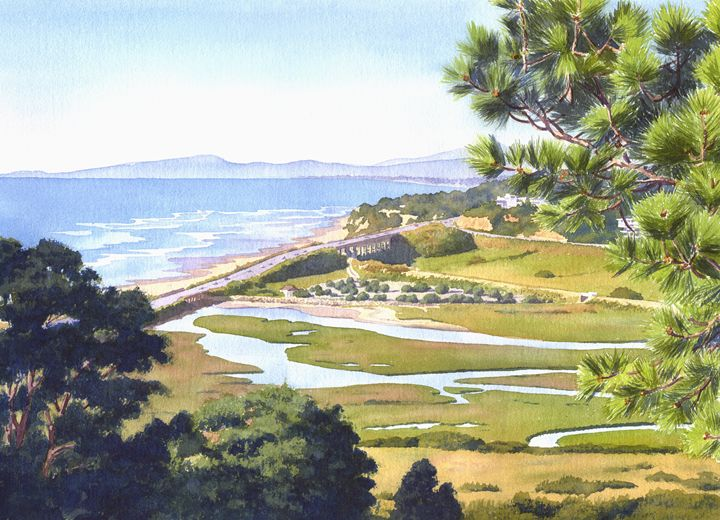 View from Torrey Pines Del Mar - Mary Helmreich California Watercolors