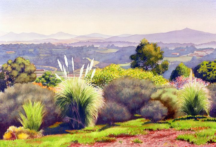 View of Rancho Santa Fe - Mary Helmreich California Watercolors