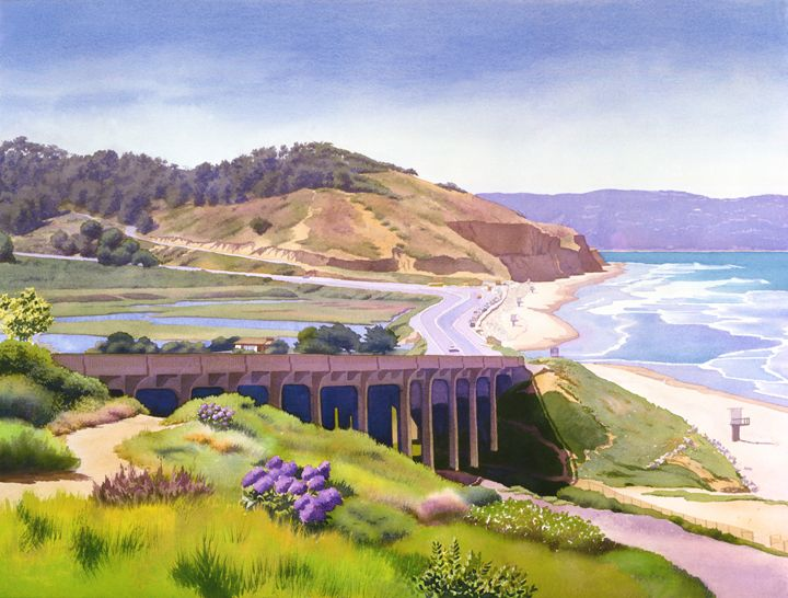View of Torrey Pines - Mary Helmreich California Watercolors