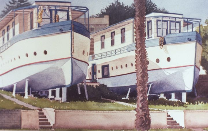 Blue Boat Apartments Encinitas - Mary Helmreich California Watercolors