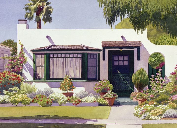 White Bungalow in Coronado - Mary Helmreich California Watercolors