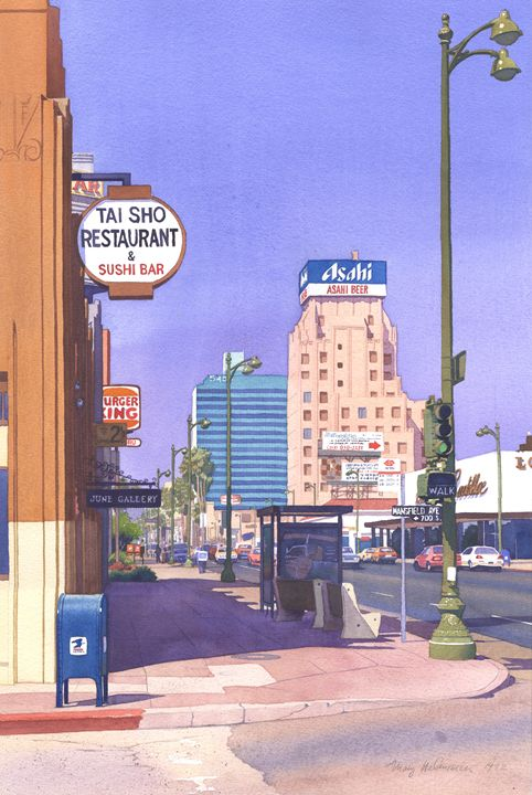 Wilshire Blvd at Mansfield - Mary Helmreich California Watercolors