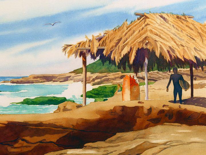 Wind'n Sea Beach La Jolla - Mary Helmreich California Watercolors