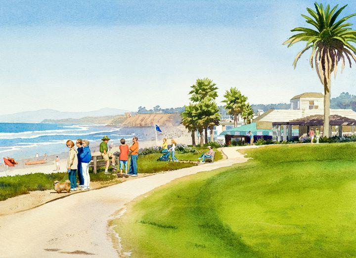 Winter Walk Del Mar - Mary Helmreich California Watercolors