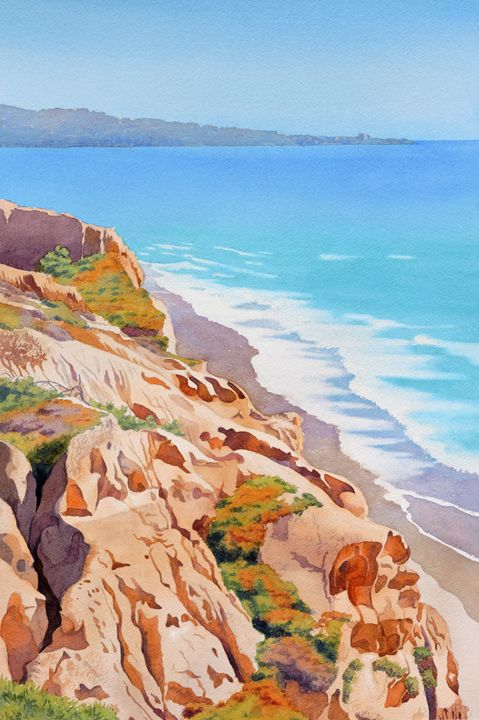Cliffs at Torrey Pines 2016 - Mary Helmreich California Watercolors