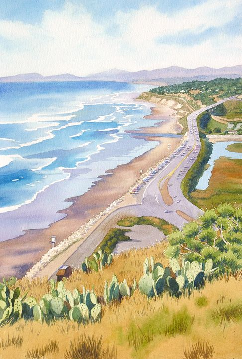 Golden View from Torrey Pines - Mary Helmreich California Watercolors