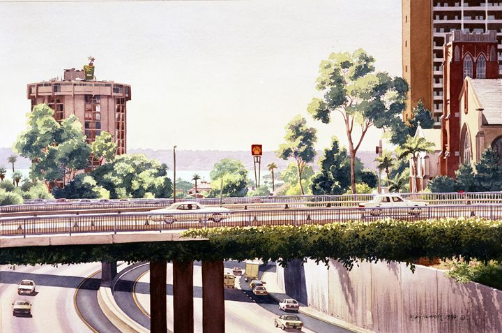 Bridges Over Rt 5 Downtown San Diego - Mary Helmreich California Watercolors