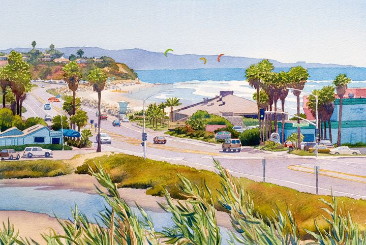 Cardiff Restaurant Row - Mary Helmreich California Watercolors