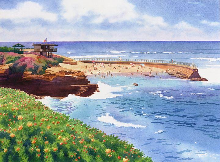 Children's Pool in La Jolla - Mary Helmreich California Watercolors