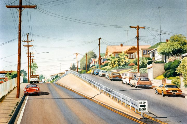 Columbia Street Middletown San Diego - Mary Helmreich California Watercolors