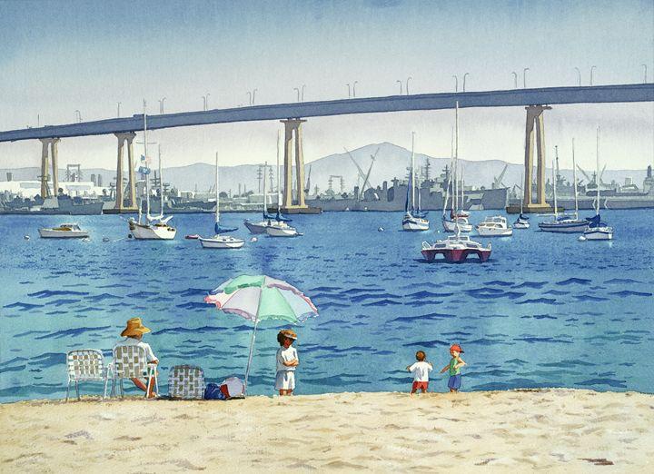 Coronado Beach And Navy Ships - Mary Helmreich California Watercolors