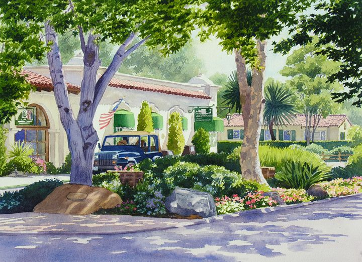 Downtown Rancho Santa Fe - Mary Helmreich California Watercolors