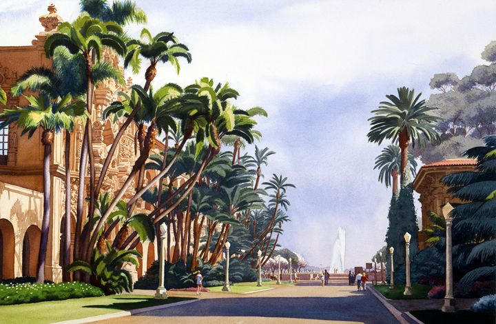 El Prado in Balboa Park - Mary Helmreich California Watercolors