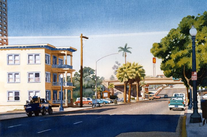 First Avenue in San Diego - Mary Helmreich California Watercolors