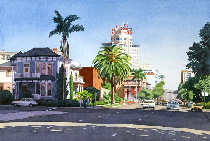 Ash And Second Avenue In San Diego - Mary Helmreich California Watercolors