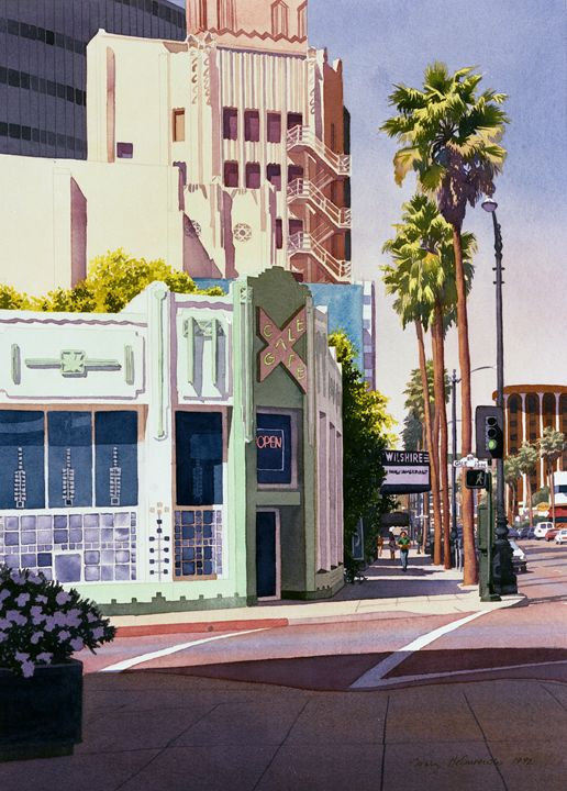 Gale Cafe Wilshire Blvd Los Angeles - Mary Helmreich California Watercolors