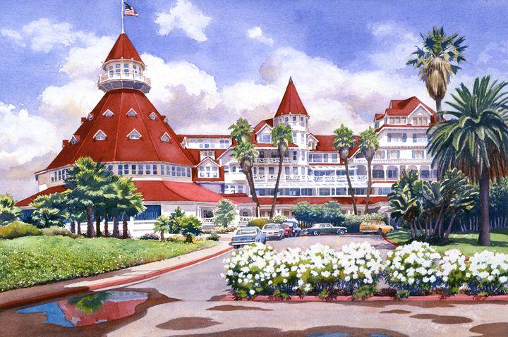 Hotel Del Coronado after Rain - Mary Helmreich California Watercolors