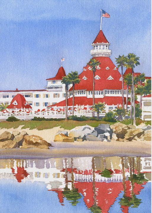 92ce6d4493 Hotel Del Coronado Reflected - Mary Helmreich California Watercolors ...