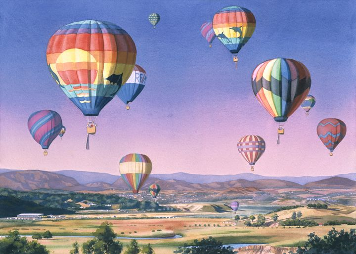 Balloons Over San Dieguito - Mary Helmreich California Watercolors
