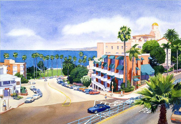 La Valencia Park & Prospect Park Inn - Mary Helmreich California Watercolors