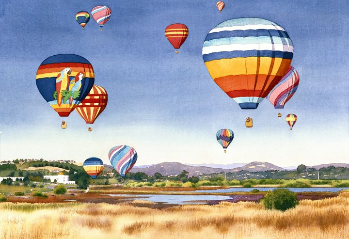 Balloons Over San Elijo Lagoon - Mary Helmreich California Watercolors