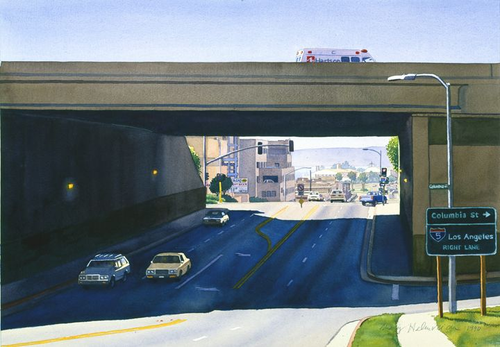 Laurel Street Bridge San Diego - Mary Helmreich California Watercolors