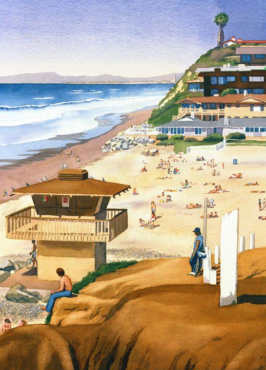 Lifeguard Station At Moonlight Beach - Mary Helmreich California Watercolors