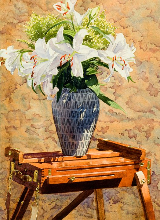 Lilies on an Easel - Mary Helmreich California Watercolors