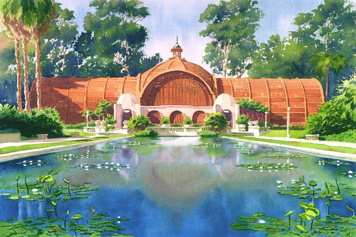 Lily Pond And Botanical Garden - Mary Helmreich California Watercolors