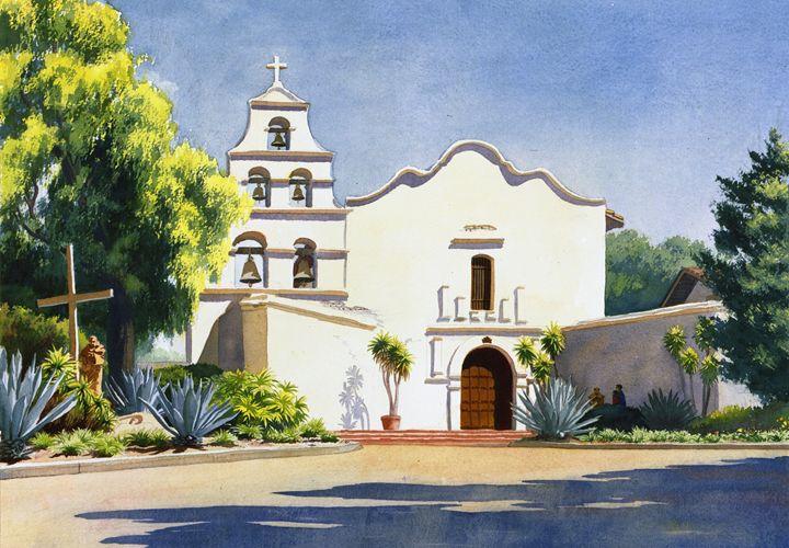 Mission San Diego De Alcala - Mary Helmreich California Watercolors