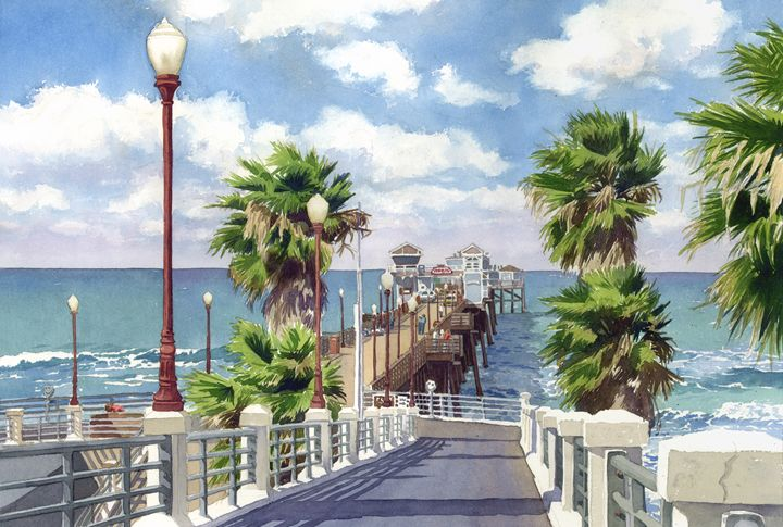 Oceanside Pier - Mary Helmreich California Watercolors