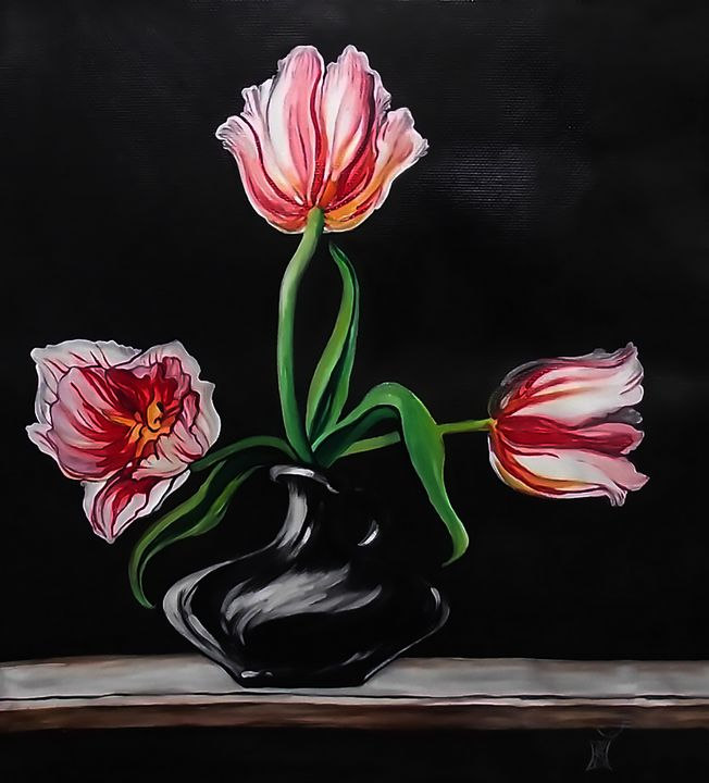 Three white tulips still life sold - Safir & Rifas Art