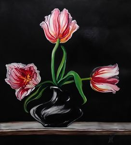 Three white tulips still life sold