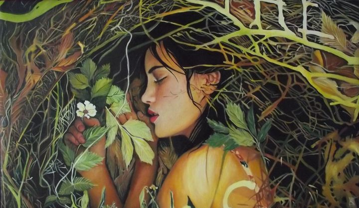 Ophelia among dead leaves sold - Safir & Rifas Art