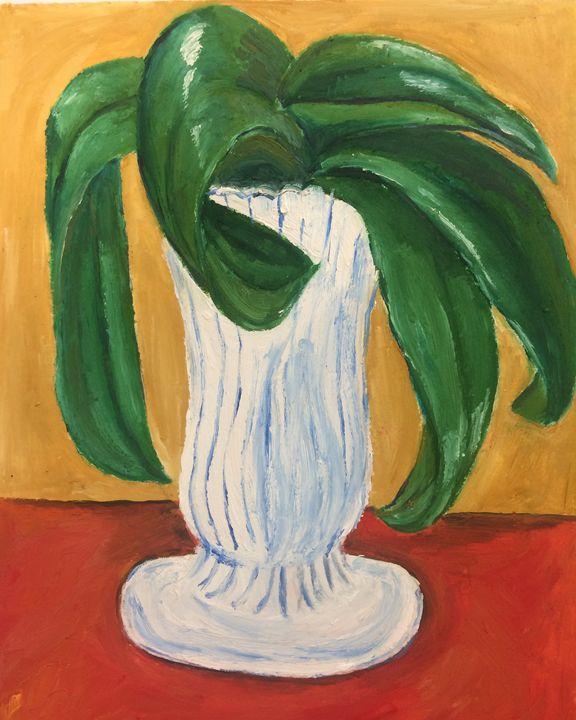 Plant in milk glass - Tiffaney Pelaez