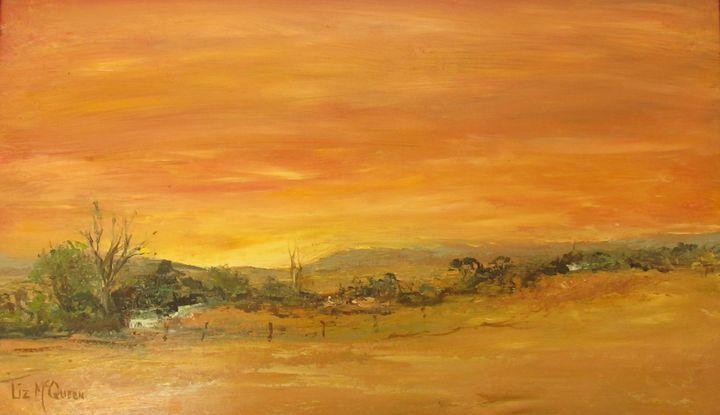 Farmstead At Sunset #3845 - Liz McQueen's Art