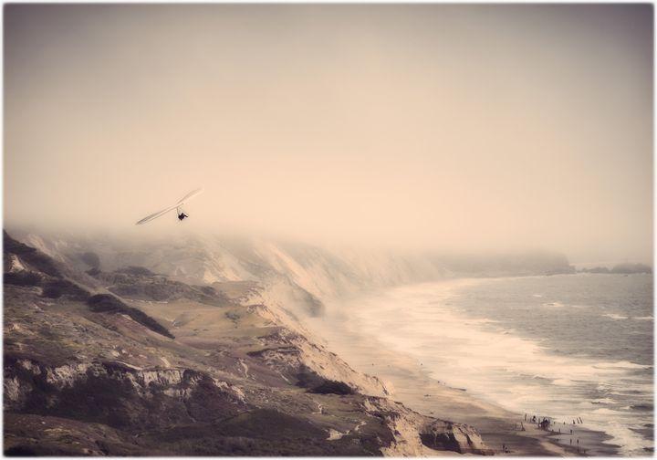 Hang gliding over ocean beach - Edward Maesen