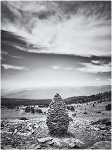 Pineal stone stack on mountain