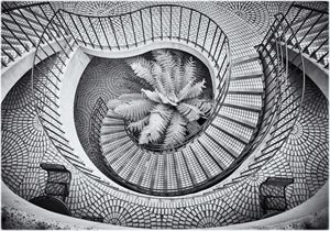 Spiral stairs with fern
