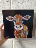 Cow painted on block canvas acrylics