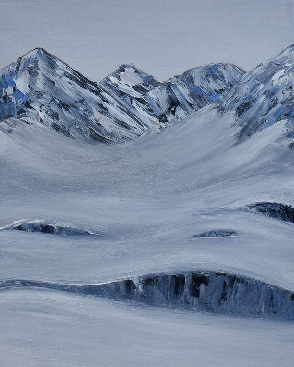 Snowy Hills and Glacier Mountains - mirandoesart