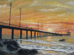 Painting oil  seascape, sunrise
