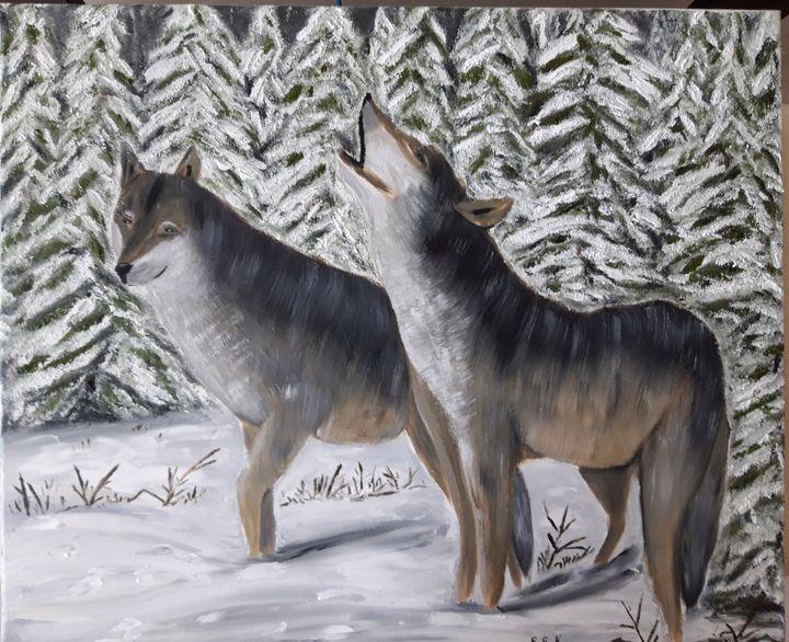 Oil Painting Wolves - Valentine Kostadinova