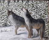 oil painting wolves. Original work o