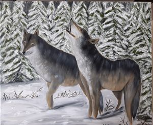 Oil Painting Wolves