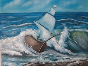 oil painting Sea storm